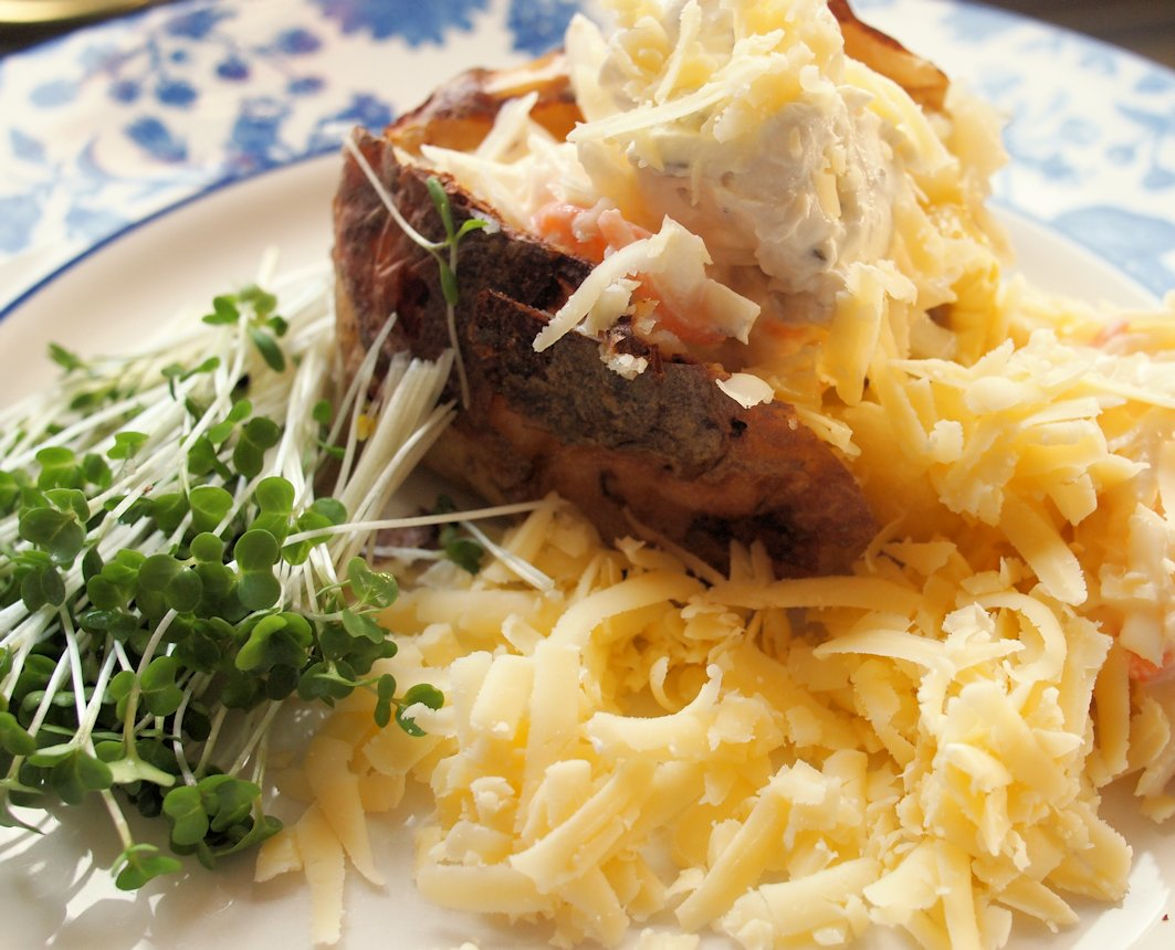 Jacket Potatoes With Coleslaw Cream Cheese And Cheddar Lavender
