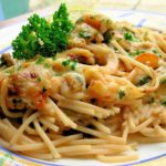 Easy Family Supper: Baked Garlic Prawn & Spaghetti Gratin ~ A One Pot Meal!