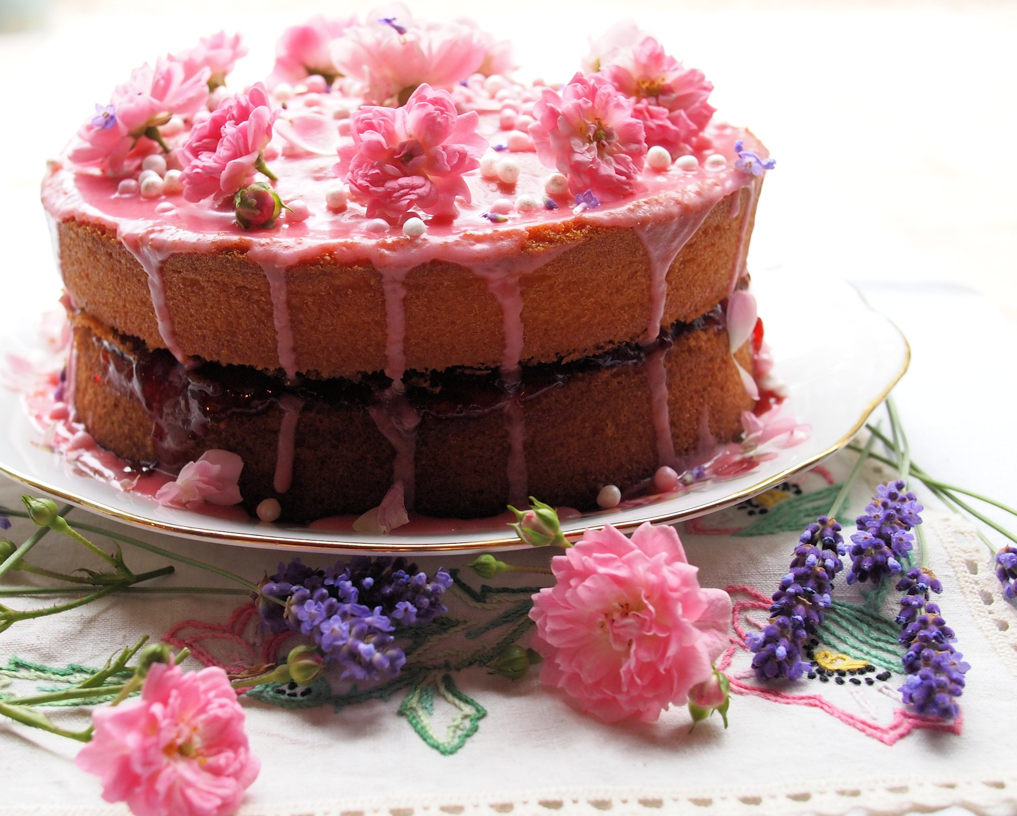 Vanilla Strawberry Rose Victoria Sponge Cake for Lavender and