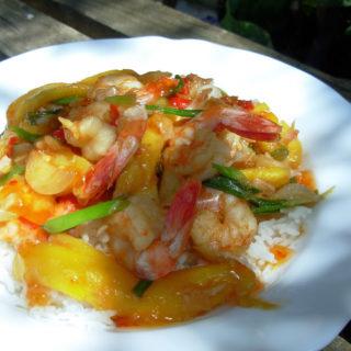 Fish on Friday with King Prawns – Chilli Prawn Stir-Fry with Mangoes