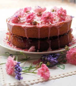 A Very Big Birthday Cake for Lavender and Lovage Blog's 1st Birthday with ROSES and LAVENDER