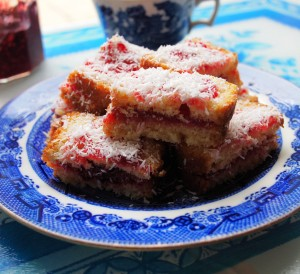 Rich Jam and Coconut Cake