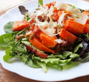 Roast Pumpkin Salad with Pancetta, Grana Padano and Pumpkin Seeds