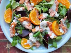 Clementine and Honey Roast Salmon Salad with Wasabi Dressing Recipe