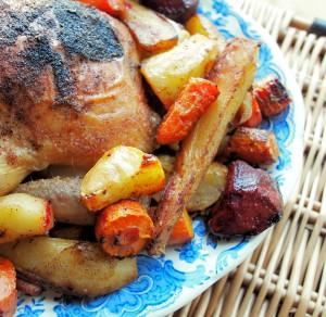 Garlic Roast Chicken with Root Vegetables Recipe