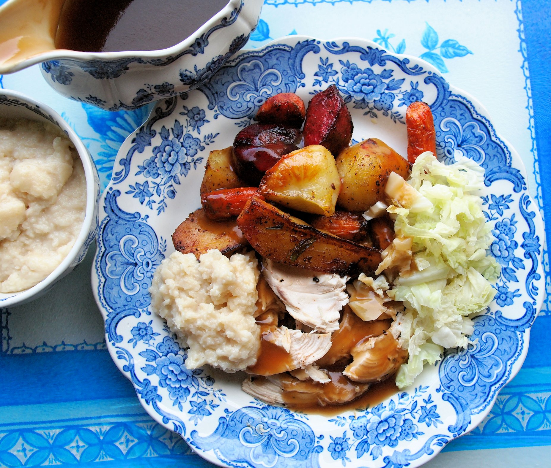 Lazy Blue And White Lunch Garlic Roast Chicken With Root Vegetables Recipe