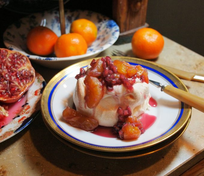 Mini Clementine and Pomegranate Pavlovas