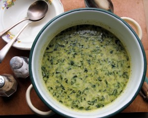Nettle and Watercress Soup with one slice of bread