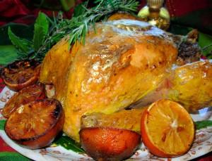 Gilded Saffron & Butter Basted Turkey with Herb Garland