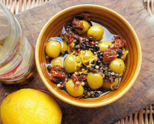 Coriander, Lemon and Sun-Dried Tomato Marinade for Olives