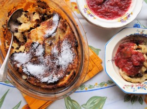 Bread and Butter Pudding with Rhubarb Compote