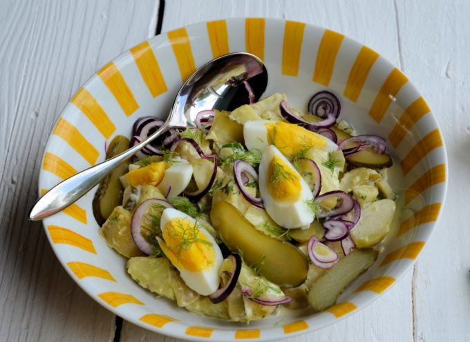 Scandinavian Potato Salad with Dill Pickles and Eggs
