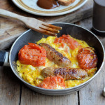 A Recipe for not much in the Fridge! Sausage, Egg and Tomato One Pan Breakfast