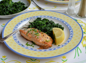 Parmesan & Chive Salmon with Garlic & Nutmeg Spinach