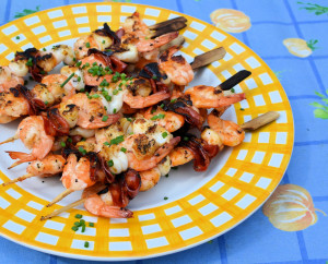 Spanish Seafood Skewers with Chorizo