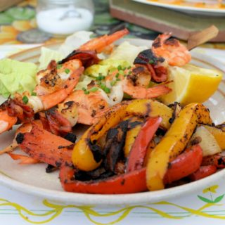 Spanish Seafood & Chorizo Skewers and Spicy Pepper Stir-Fry Recipes with La Plancha