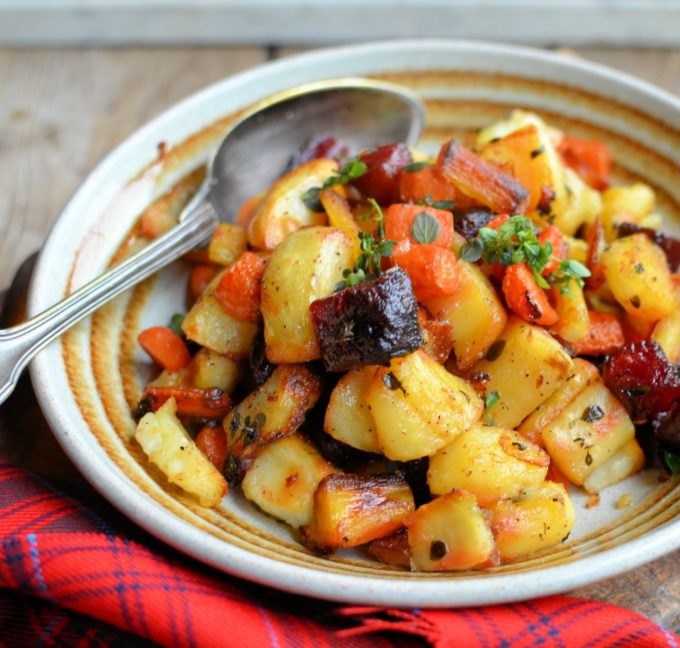 "Roasted ""Tartan Veggies"" with Smoked Sea Salt, Honey and Thyme"