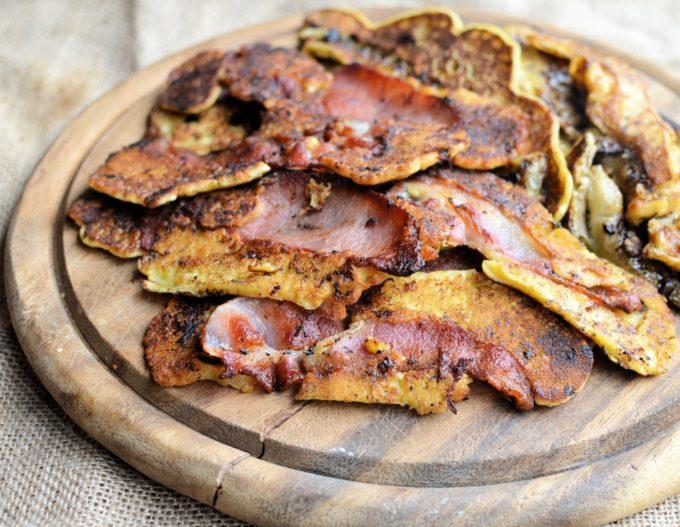 Bacon and Banana Pancake Strips with Smoked Chilli Honey