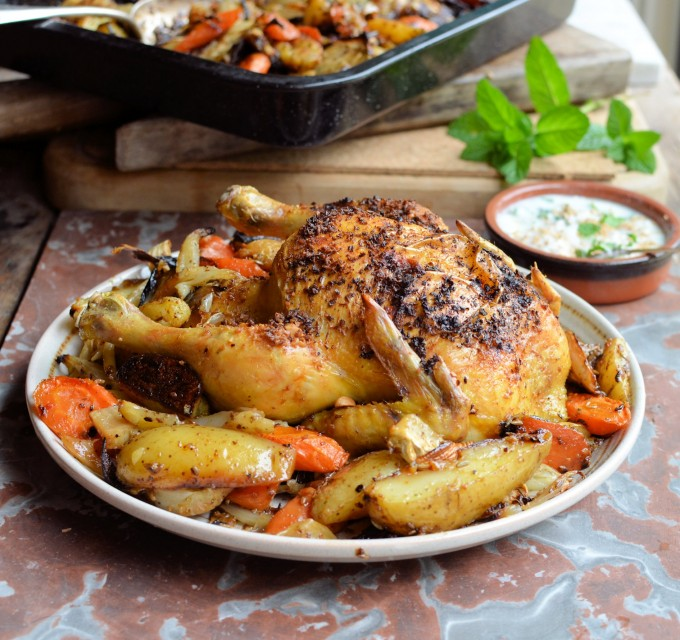 Dukkah Crusted Roast Chicken with Root Vegetables