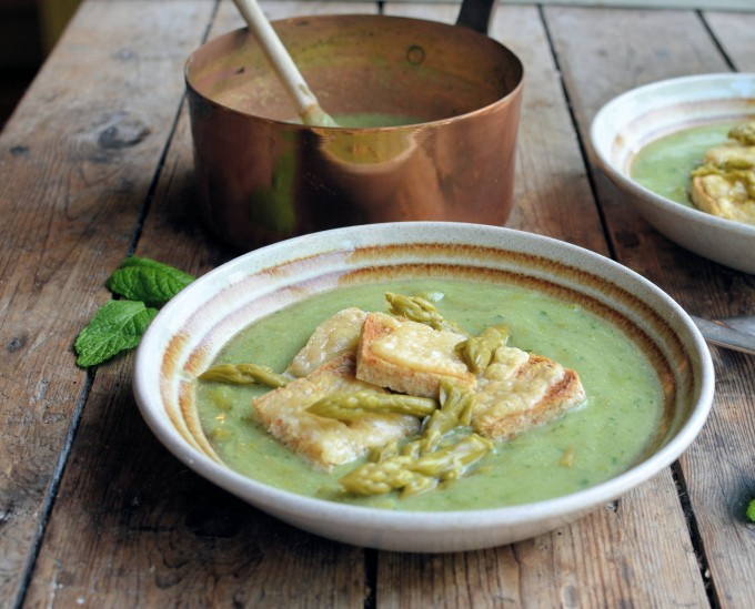 Minted Asparagus & Pea Soup with Toasted Cheese Croutons