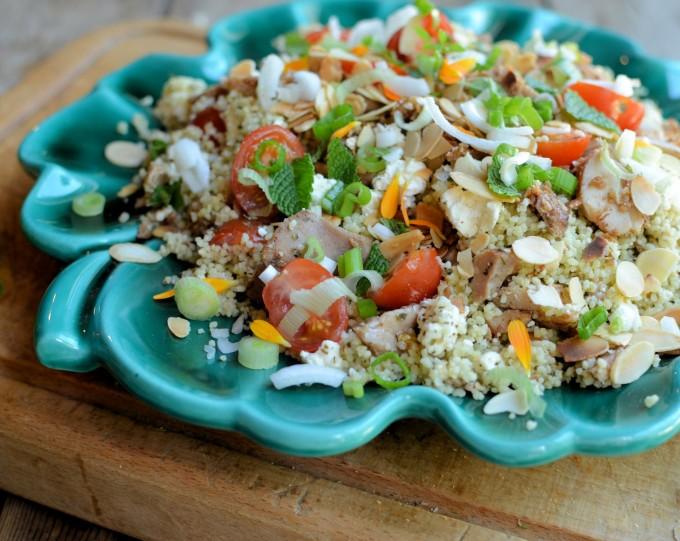 """Arabian Nights"" Tabbouleh Salad with Chicken, Feta & Marigold Petals"