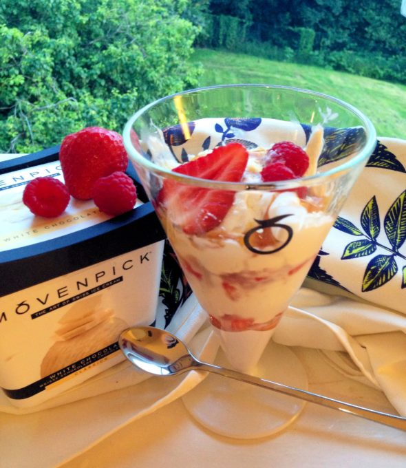White Chocolate Ice Cream Sundae with Summer Berries & Fudge Sauce