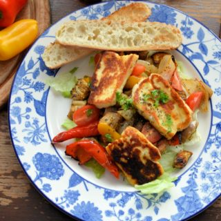 Roasted Graffiti Aubergines & Sweet Peppers in Chilli Oil with Halloumi & Sourdough Toasts