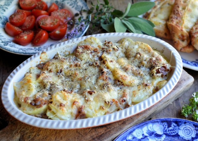 Twice Baked Potato, Cheese and Bacon Gratin