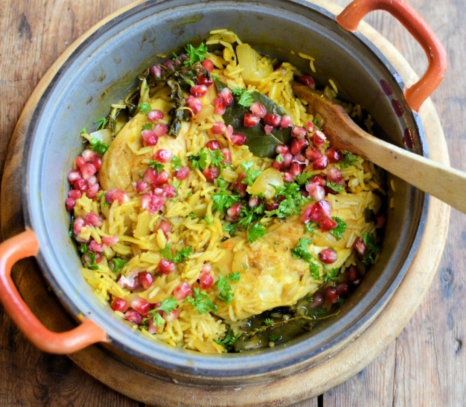 Baked Lemon Chicken with Saffron & Pomegranate