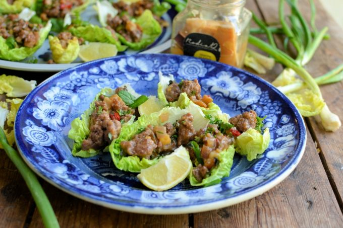 Spicy Beef Larb Lettuce Wraps