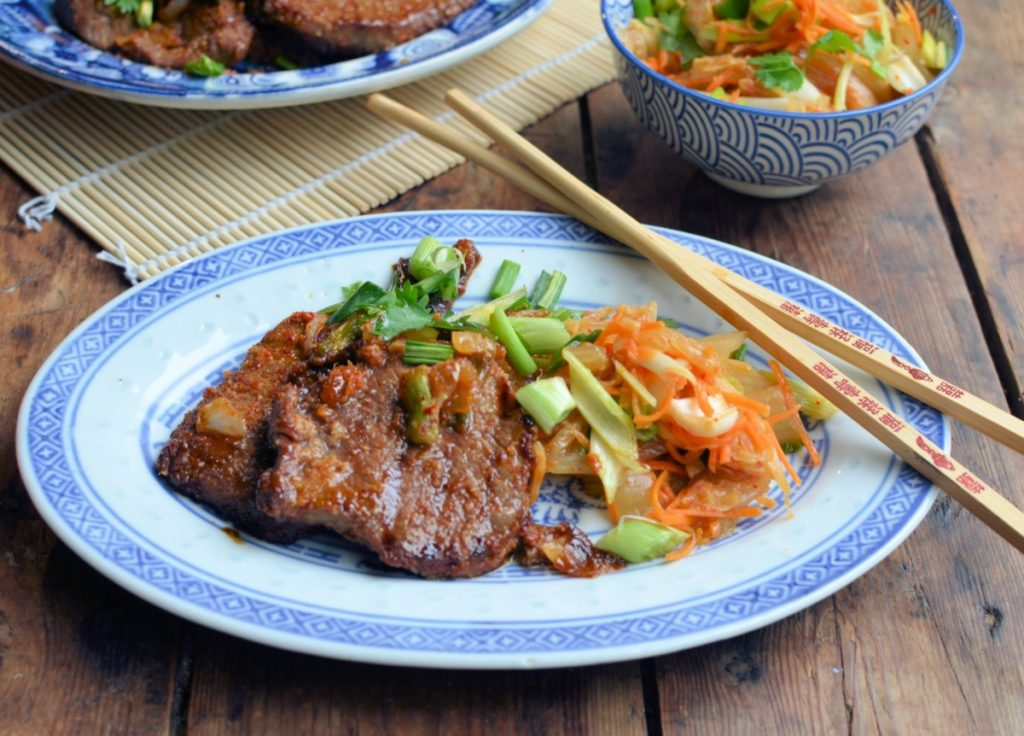 Korean BBQ Bulgogi Beef with Asian Slaw - Lavender and Lovage