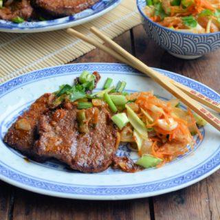Korean BBQ Bulgogi Beef with Asian Slaw