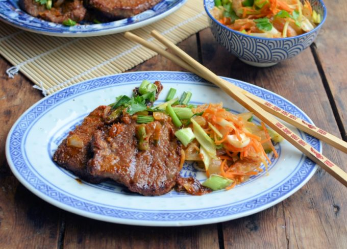 Korean BBQ Bulgogi Beef with Asian Slaw