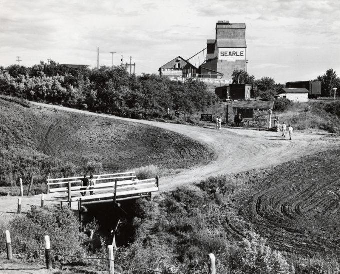 Searle Grain Company elevator, 1955, in what is believed to be St. Louis, Saskatchewan.