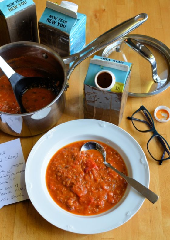 Blind Taste Test Recipe Creation with Soup! My attempt to recreate a soup based on a blind taste test with New Covent Garden Soup Co. I was sent some soups that had been covered in tape, and my task was to try to recreate the soup based on taste, which I did, et voila! A Skinny Tomato & Red Pepper Soup with Quinoa.