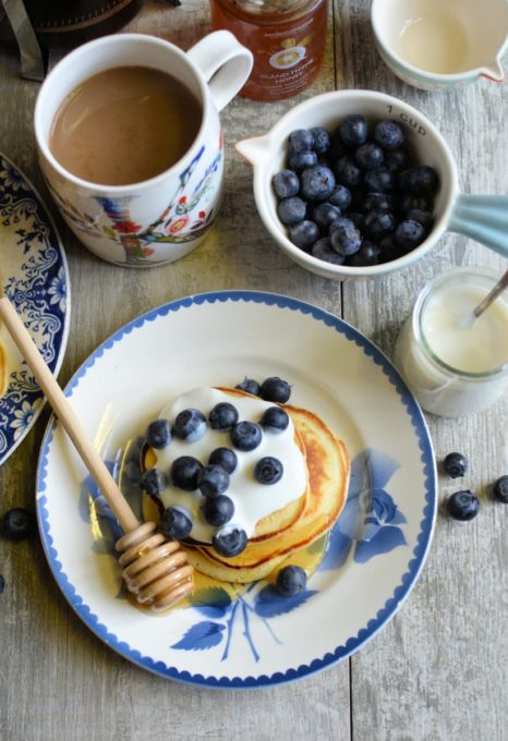 Vanilla Honey Pikelets with Blueberries & Yogurt