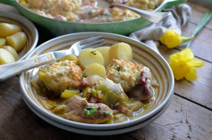 Leek & Chicken Casserole with Baked Dumplings