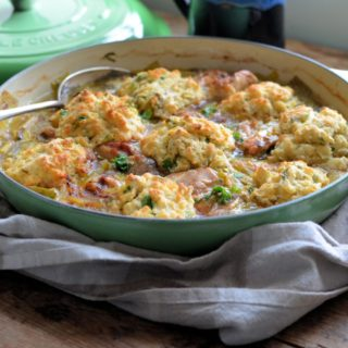 Leek & Chicken Casserole with Baked Dumplings