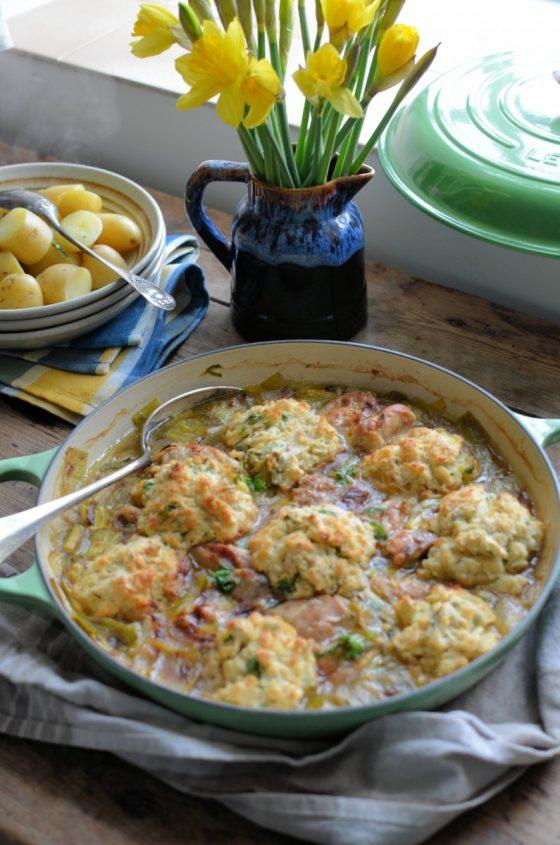 Welsh Leek & Chicken Casserole with Baked Herb Dumplings