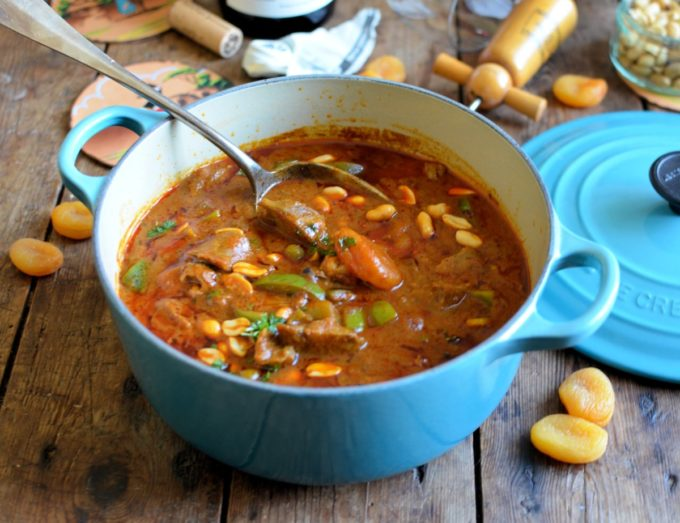 Durban Style Lamb and Apricot Curry - A hot and spicy lamb curry which is cooked in a rich tomato and curry masala broth; Durban curry doesn't usually have fruit added, but I have added some plump, dried South African apricots for sweetness and texture. Use diced lamb leg or neck of lamb, and serve with Basmati rice, naan bread, chutney and a handful of peanuts. Wine pairing: I served this with a South African Pinot Noir from Newton Johnson Family Vineyards in the Hemel-en-Aarde Valley.