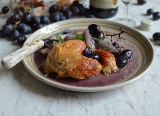 Roast Chicken with Grapes and Shallots