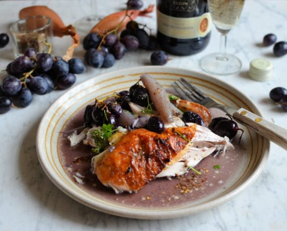 Roast chicken and grapes