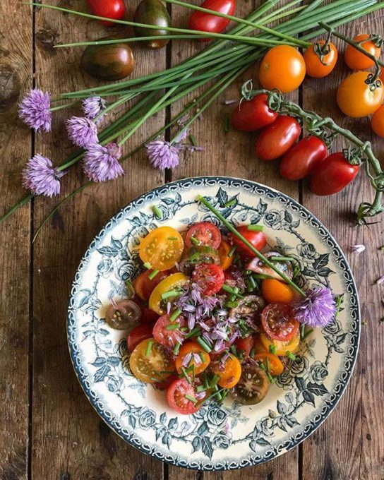 Tomato salad with chives and chive flowers