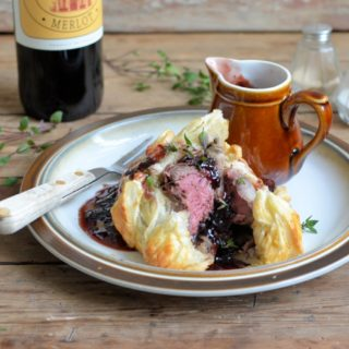 Mini Beef Wellingtons with Boozy Berry Sauce