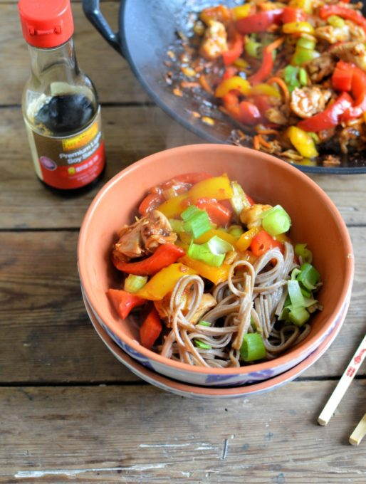 Kung Pao Stir-Fry Chicken and Noodle Bowls (