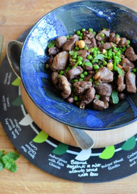 Browned Hazelnut and Mint Lamb served with Peas