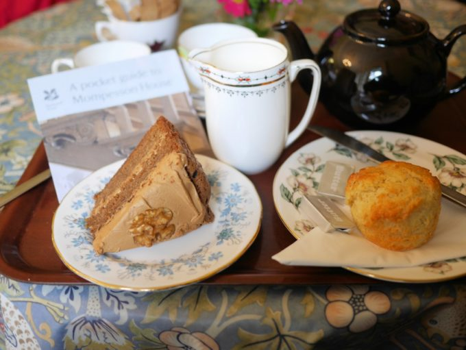 Coffee walnut cake and cheese scone