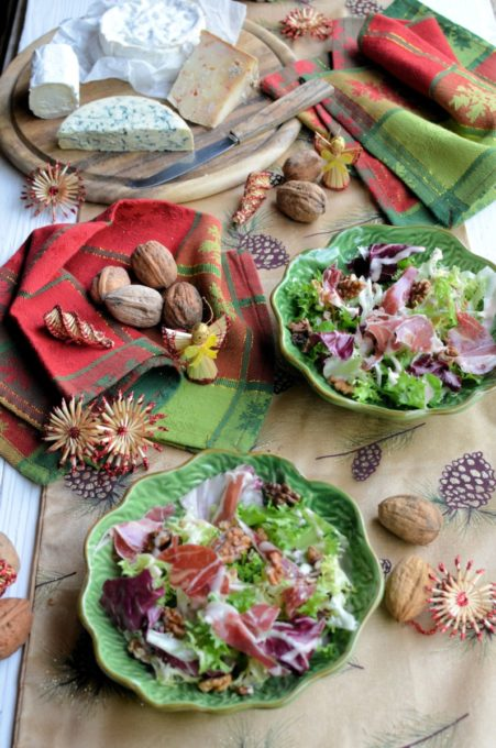 French Farmhouse Christmas Festive Salad Images and Cheeseboard