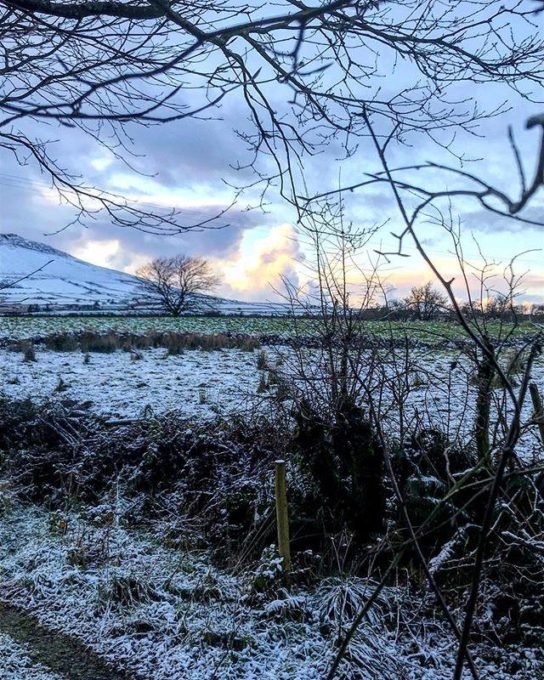 A fabulous frosty morn' here with just a touch of a pink sky. It's going to be a baking day for me, just me with the radio and a pot of tea in the kitchen.....closeted with flour, eggs, sugar and lots of old family recipes. Have a cosy Sunday - what are your plans? #mytaleofwinter #heiterwinter