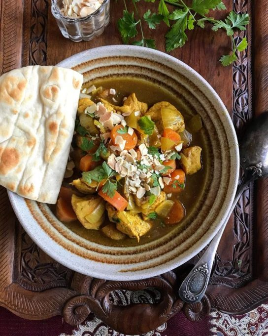 One more photo and a close up of tonight's supper, Chicken, Apricot & Almond Tagine with Flatbreads.....this was delectable and we both lapped it up!